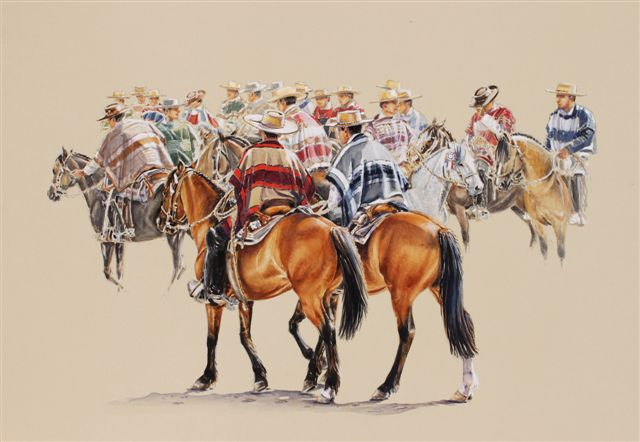 Horse paintings - a rodeo huasos chile