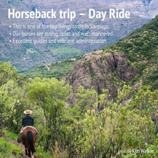 Riding on horseback in the Andes mountains near santiago