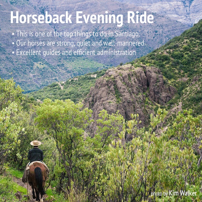 horseback trip evening ride in the Andes mountains, just outside Santiago, Chile.